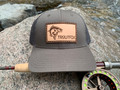 TroutFix Leather Patch Hat - Earth Brown/Charcoal Low/Mid Profile