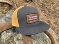 """Support-Protect-Hunt"" Public Land 7 Panel Flatty - Charcoal/Old Gold"