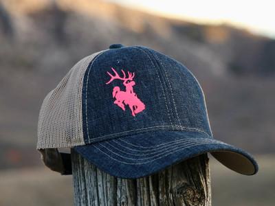 Women's Pink Bucking Horse Denim Hat