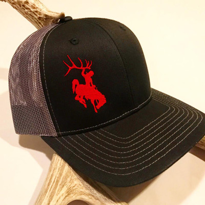 Bucking Horse Black & Silver & Red Hat