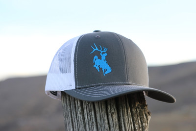 Blue & Grey & White Bucking Horse Hat