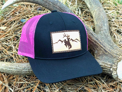 Rocky Mountain  Leather Patch Hat - Black & Pink