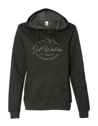 Women's Get Western Script Hoodie - Charcoal Heather Grey