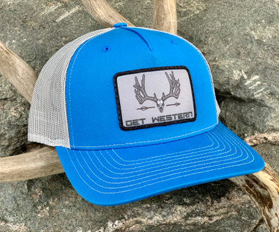 Get Western Velvet Muley Patch Hat - Cobalt Blue & Aluminum