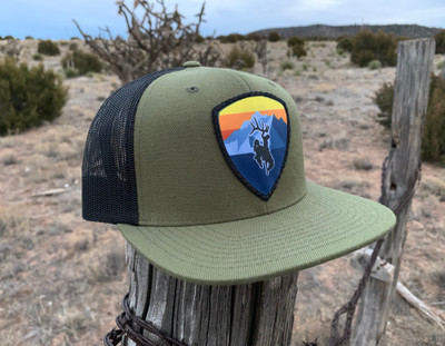 Bucking Horse 'Peak' Patch Flatty - Olive/Black