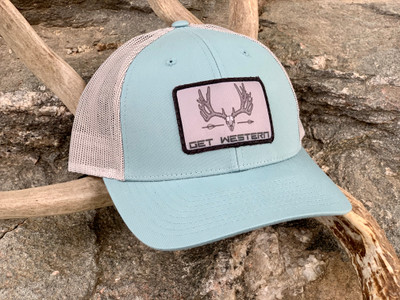 Get Western Velvet Muley Bowhunter Hat - Smoke Blue/Aluminum Low Profile