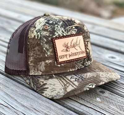 Get Western Grave Digger Leather Patch Hat -Real Tree Max-1 xt & Brown