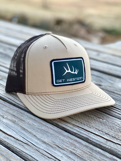 Get Western Elk Shed Black Patch Hat - Khaki & Coffee