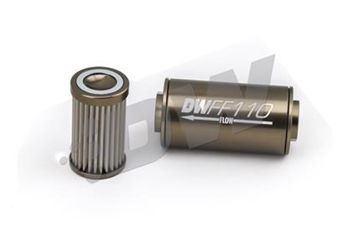 DeatschWerks Stainless Steel 8AN 100 Micron Universal Inline Fuel Filter Housing Kit (110mm) (PN: 8-03-110-100K)