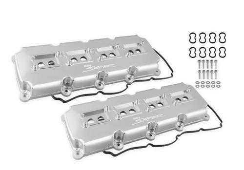 Holley Sniper Fabricated Valve Covers - Silver Finish (5.7L - 6.4L Mopar Gen III Hemi)