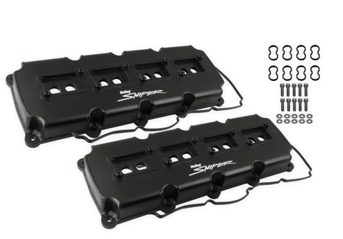 Holley Sniper Fabricated Valve Covers - Black Finish (5.7L - 6.4L Mopar Gen III Hemi)