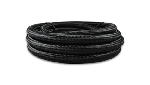 Vibrant 10ft Roll of Black Nylon Braided Flex Hose; AN Size: -4; Hose ID: 0.22""