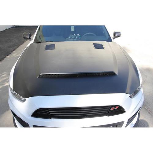 Anderson Composites 2015 - 2017 Mustang Fiberglass Super Snake Style Hood