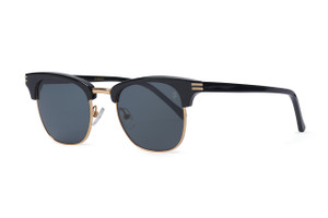 Gloss black with gold accents. Polarized gray lens.