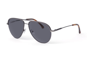 Matte gunmetal with silver accents. Polarized gray lens.