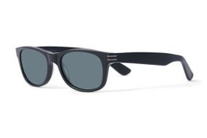 Matte black with gunmetal accents. Polarized gray lens.
