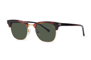 Gloss tortoise with gold accents. Polarized green lens.