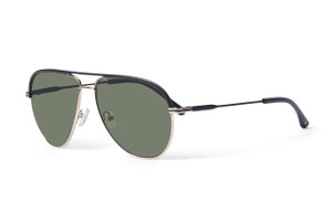 Matte black with gold accents. Polarized green lens.