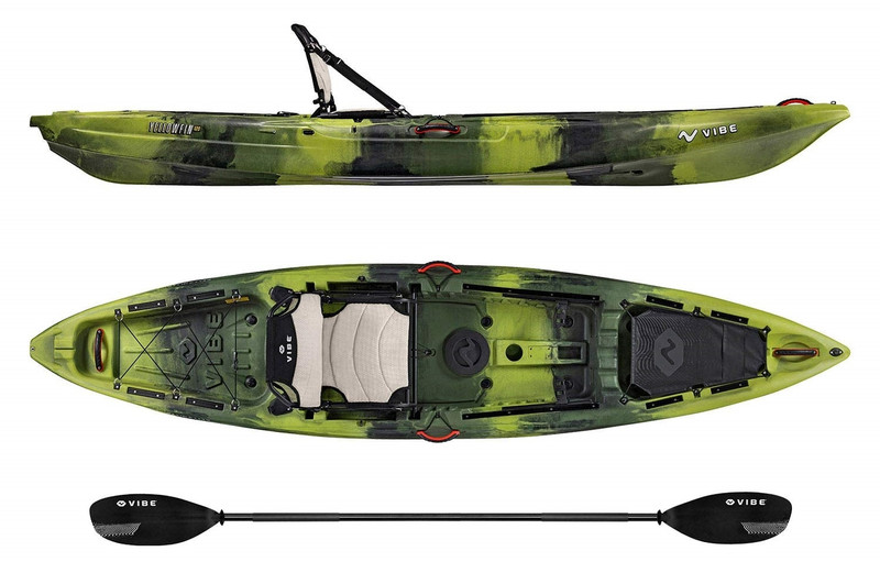 Vibe 2019 Yellowfin 120 Kayak Package | 12ft Fishing Kayak with Framed Hero Seat & Paddle. Moss