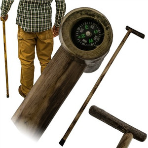 38 in Wooden Walk Cane w/Compass L0185