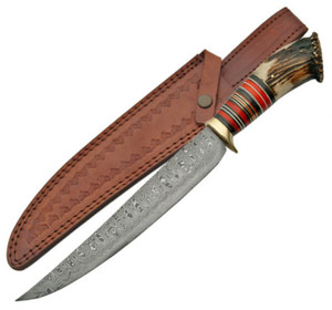 DAMASCUS 15-1/2 in Bowie Hunting Knife DM1059