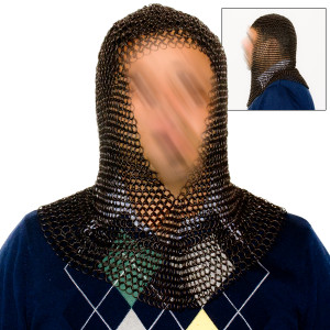 Black Chain Mail Hood (Coif) PTC003BK