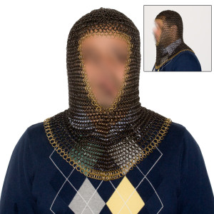 Black & Gold Chain Mail Hood (Coif) PT003BG