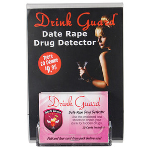 "Drink Guard 5"" x 7"" Clear Acrylic Display with Card Holder and Drink Guard insert. The Card holder will hold 5 Drink Guards. DISPLAY-DG"
