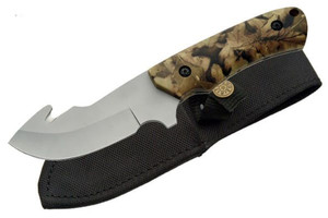 Camo Gut Hook Hunting Knife 210811HK