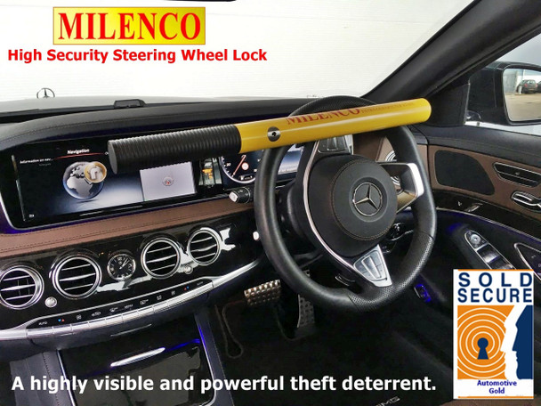 Milenco High Security Steering Wheel Lock (YELLOW) - Sold Secure Gold Standard