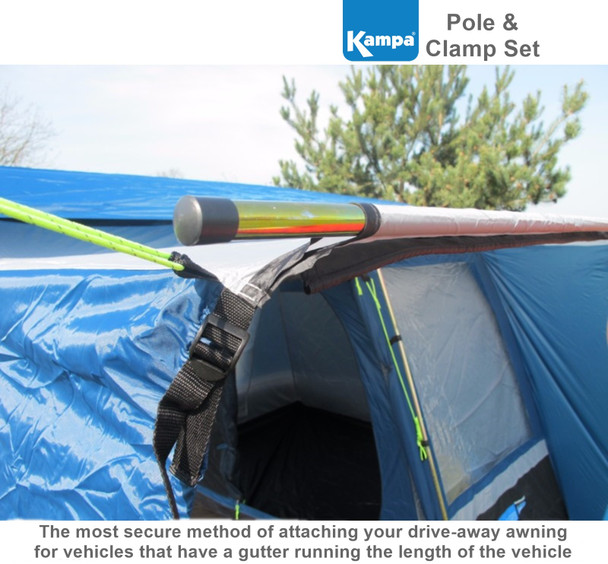 Kampa Connecting Pole and Clamp Set - 320cm with 3 clamps
