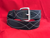 """1 3/4"""" Black Stitched Belt with Buckle"""