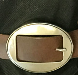 Oval Stainless Steel Center Bar Buckle-1.5""