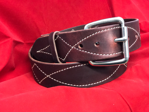 "1 3/4"" Burgundy Stitched Belt with Buckle"