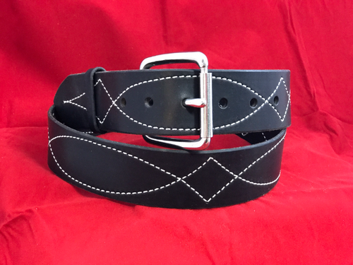 "1 3/4"" Black Stitched Belt with Buckle"
