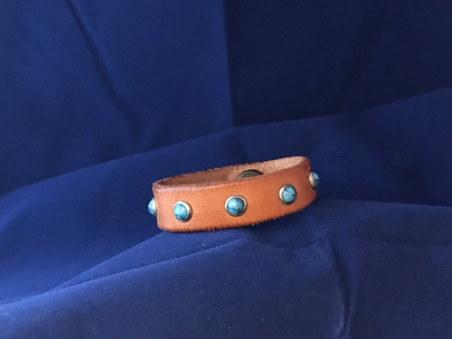 Turquoise Spots Leather Baby Bracelet