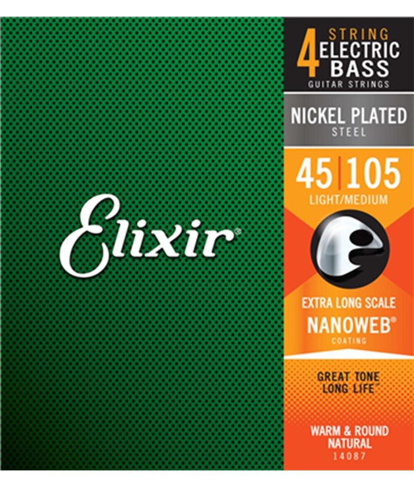 Elixir Elixir Electric Bass Nickel Plated Steel Strings with NANOWEB Coating