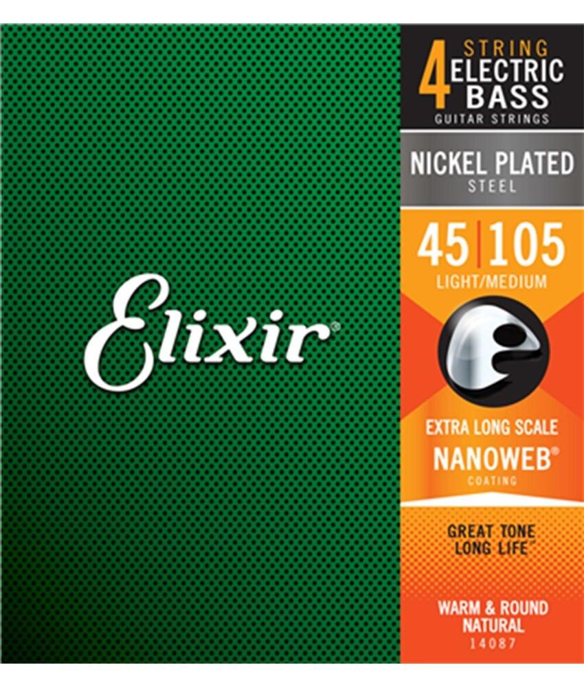 Elixir Elixir Electric Bass Nickel Plated Steel Strings with NANOWEB Coating