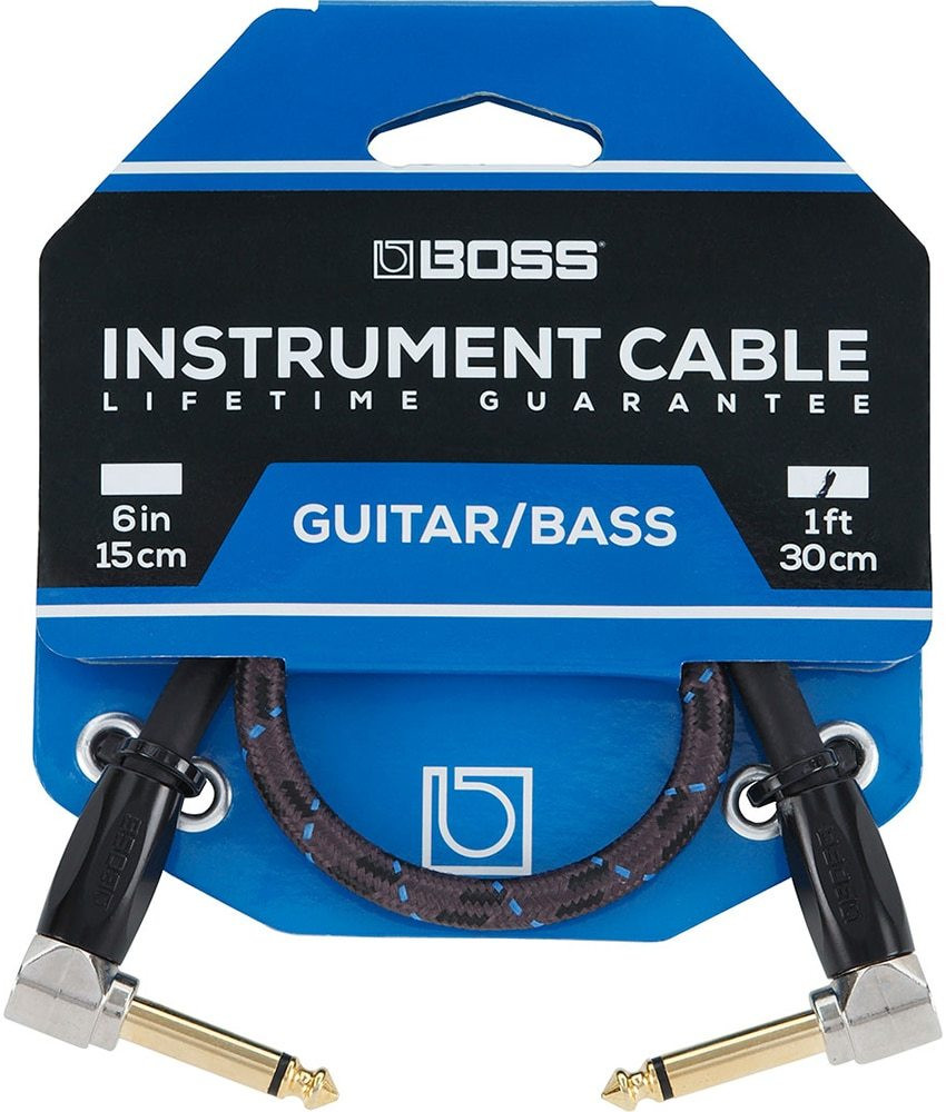 Boss Boss BIC-1AA 1ft / 30cm Instrument Cable, Angled/Angled 1/4 jack