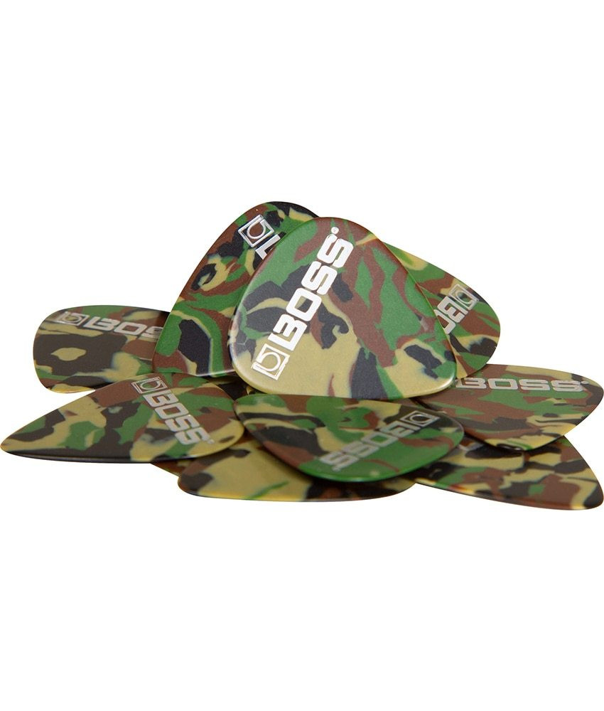 Boss Boss Medium Celluloid Guitar Pick CAMO - 12 Pack