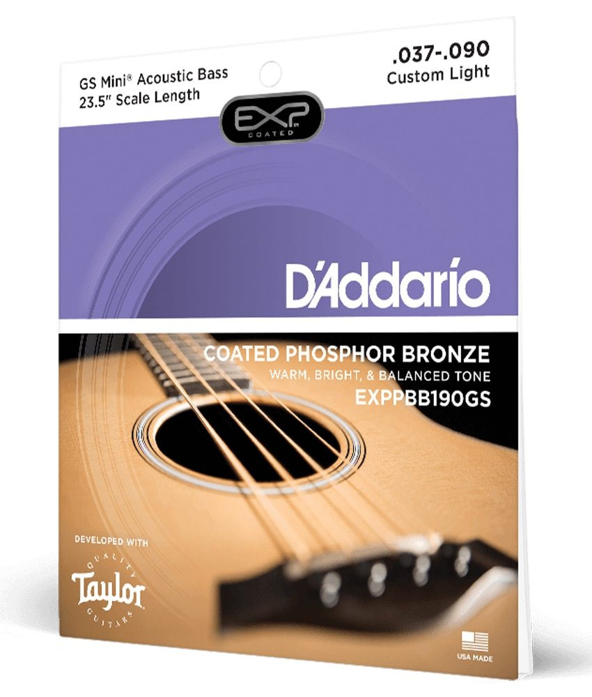Daddario DAddario Phosphor Bronze Coated Acoustic Bass Strings, Taylor GS Mini Scale, 37-90