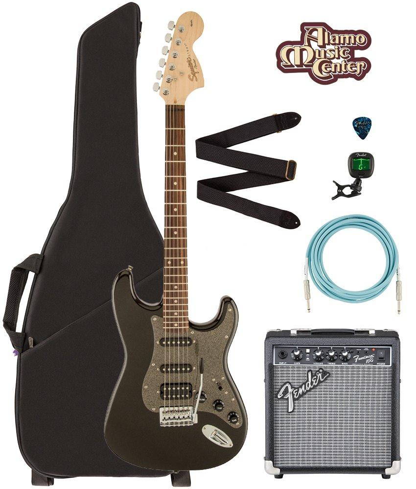 Squier Squier by Fender Affinity Series Strat HSS, 0370700564 Black Metallic Bundle w/ Gig Bag