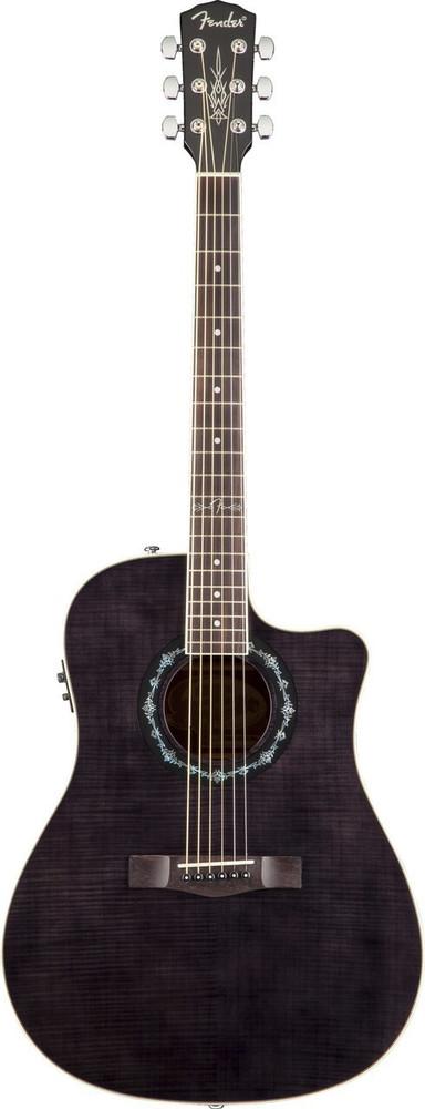 Fender Acoustic Guitars Fender T-Bucket 300CE A/E Flamed Maple Black Dreadnought Cutaway