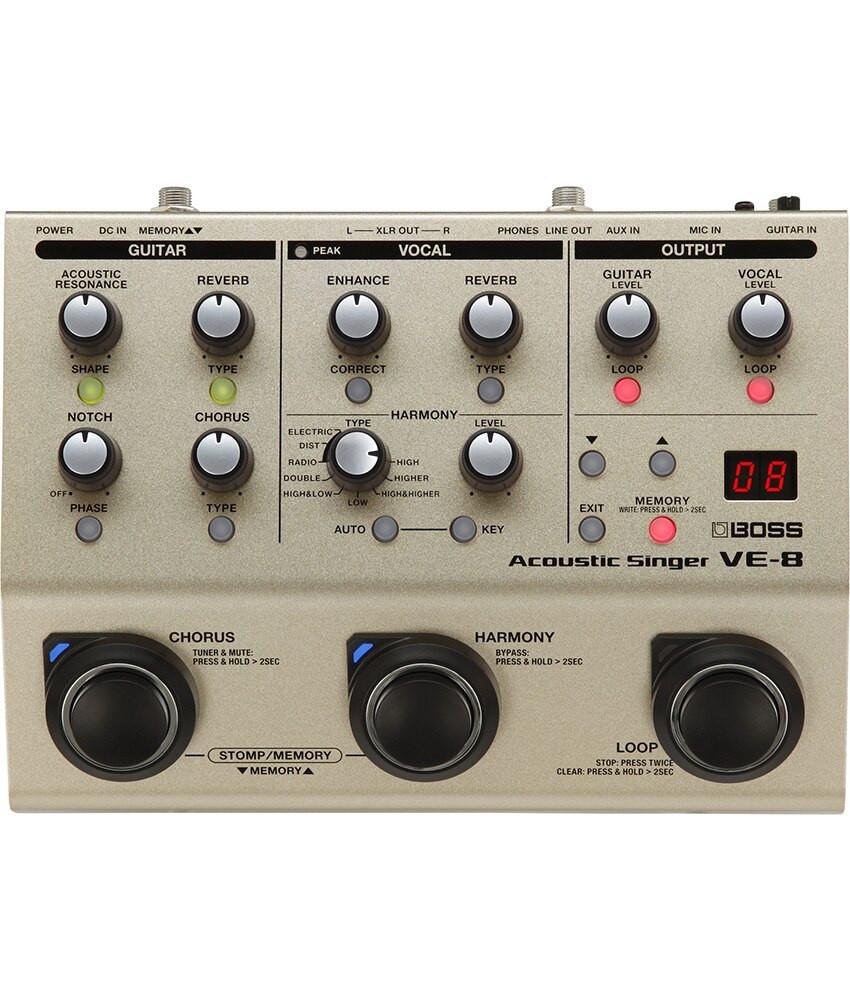 Boss Boss VE-8 Acoustic Singer Effects Processor Pedal Bundle