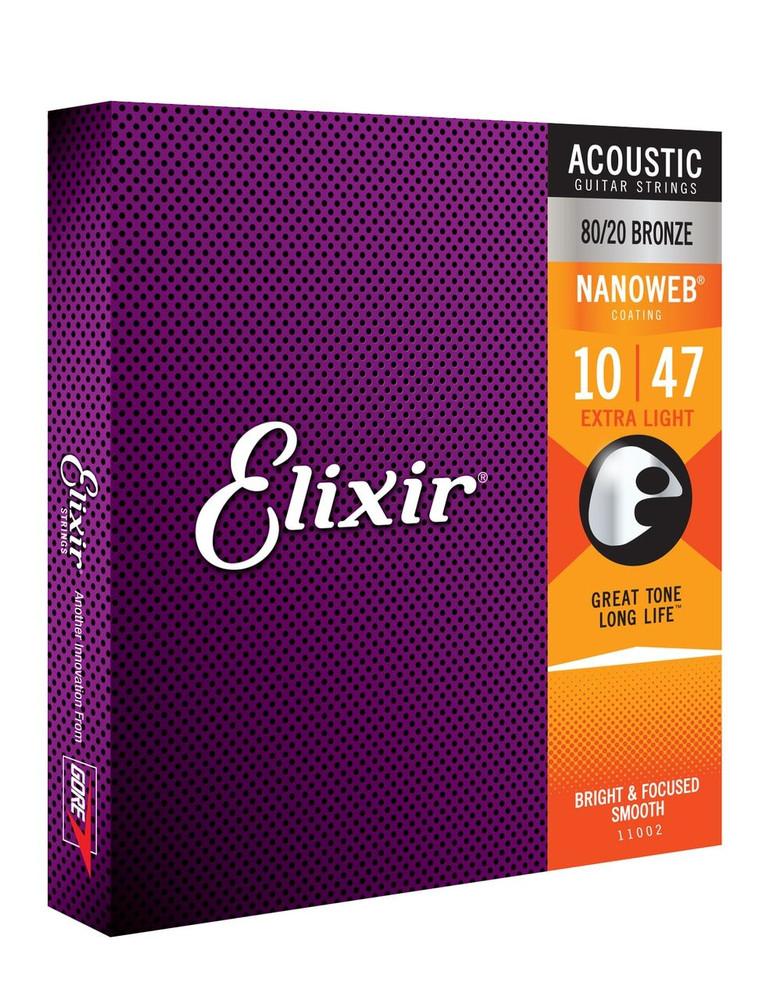 Elixir Elixir Extra Light NanoWeb Acoustic Guitar Strings 10-47