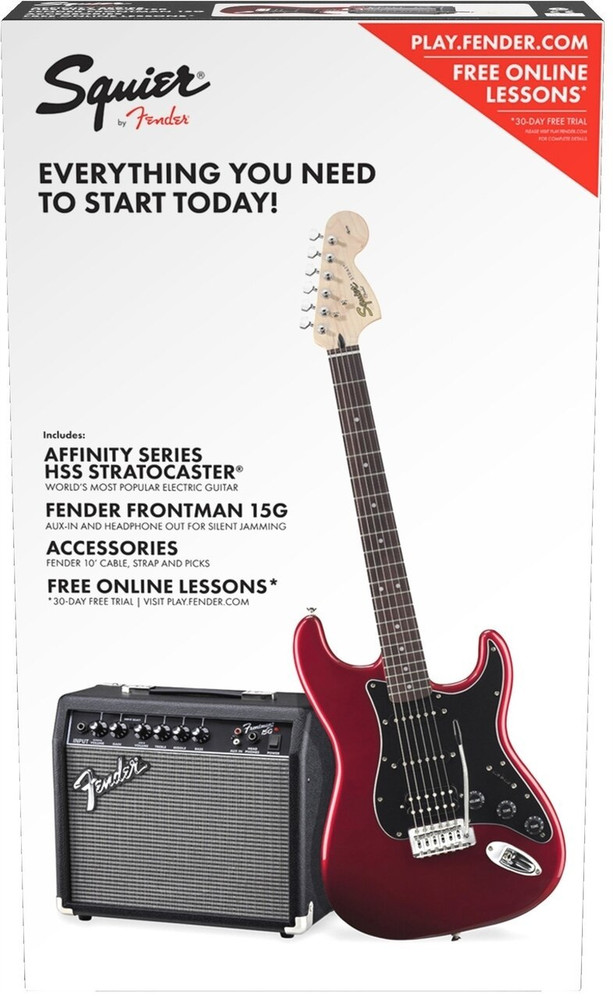 Fender Red Affinity Series Strat HSS with Fender Frontman 15G Amp
