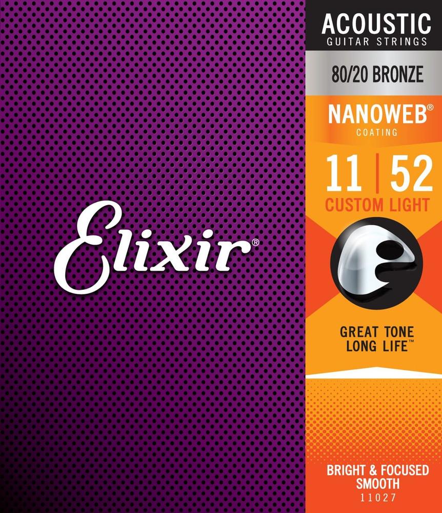Elixir Elixir Nanoweb 80/20 Bronze Custom Light Acoustic Guitar Strings 11-52