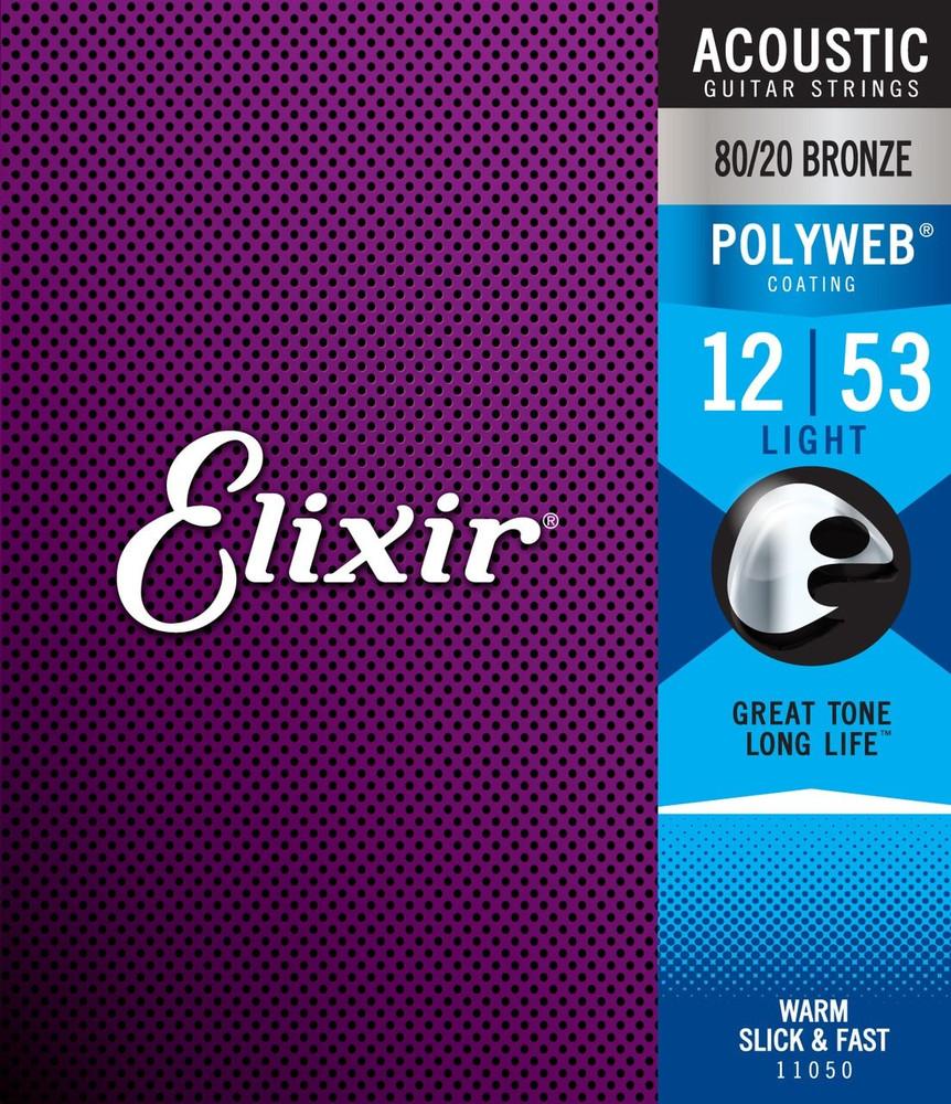 Elixir Elixir Polyweb 80/20 Bronze Light Acoustic Guitar Strings 12-53