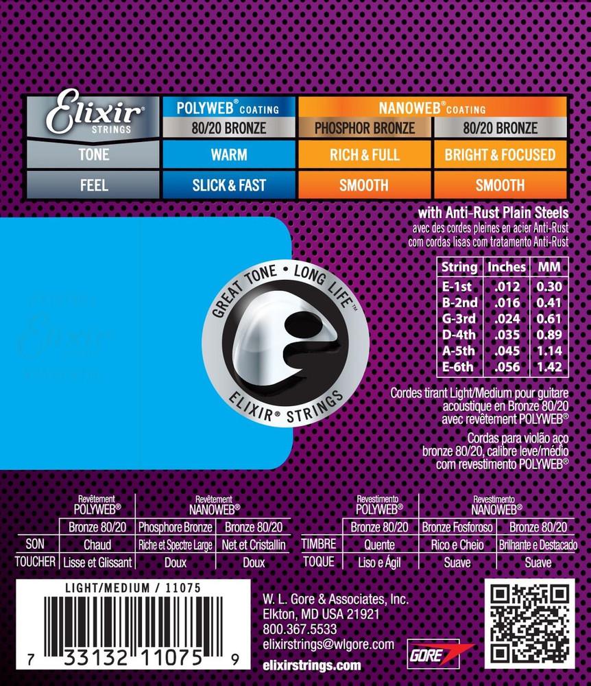 Elixir Elixir Polyweb 80/20 Bronze Light-Medium Acoustic Guitar Strings 12-56