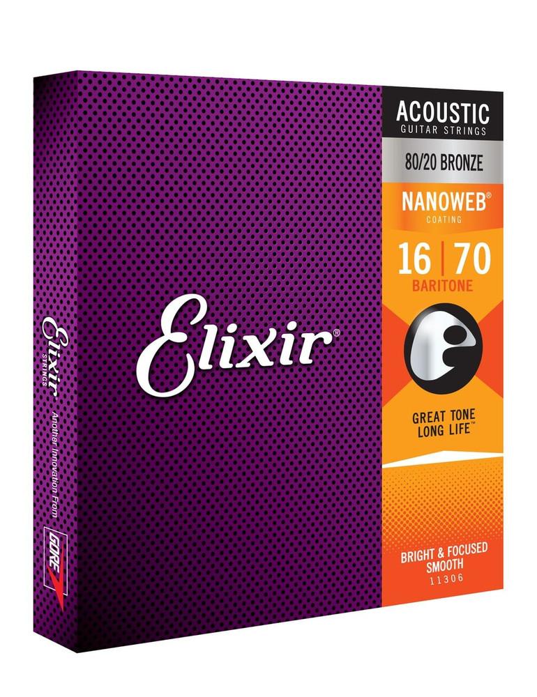 Elixir Elixir Nanoweb 80/20 Bronze 6-String Baritone Acoustic Guitar Strings 16-70